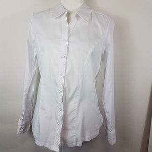 Cathy white button down top small